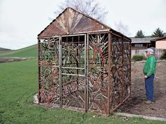 Built entirely of antique tools, this shed is a celebration of form over function.data-pin-do=
