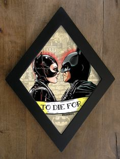 Catwoman and Batman kiss Michelle Pfeiffer and by bwanadevilart