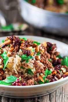 Mediterranean Hashweh Rice with Beef, Nuts and Raisins. Exceptional beef and ric… Mediterranean Hashweh Rice with Beef, Nuts and Raisins. Exceptional beef and rice recipe from The Mediterranean Dish. Lebanese Recipes, Greek Recipes, Rice Recipes, Indian Food Recipes, Cooking Recipes, Healthy Recipes, Chicken Recipes, Syrian Recipes, Easy Recipes