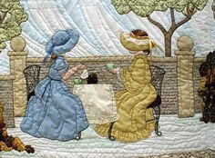 "#3 ""Daily Living Activities for the Bonnet Girls"" Garden Tea Pattern $13.50. Two Bonnet Girls with different style bonnets and dresses take afternoon tea in the stone fence flower garden. Shadow applique fills the sky and ground."