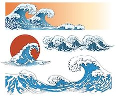 Find Waves Japanese Style Storm On Sea stock images in HD and millions of other royalty-free stock photos, illustrations and vectors in the Shutterstock collection. Thousands of new, high-quality pictures added every day. Abstract Waves, Blue Abstract, Japanese Waves, Japanese Style, Ocean Illustration, Illustration Styles, Wave Book, Waves Icon, Waves Logo