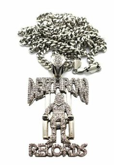Silver Iced Out Death Row Records Pendant with a 6mm 36 Inch Miami Cuban Chain Necklace JOTW. $36.95. 100% Satisfaction Guaranteed!. This pendant measures 2 inches from left to right and 3.35 inches from top to bottom.. Great Quality Jewelry!