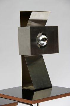 Lampe 70s en feuille d'acier brossé de Jacques Charpentier