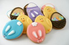 such a cute cookie idea for easter... all from an egg shaped cutter Repinned By:#TheCookieCutterCompany