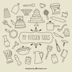 My kitchen tools Free Vector - tools doodle My kitchen tools Free Vector - Jule H. Doodle Sketch, Doodle Drawings, Doodle Art, Coloring Books, Coloring Pages, Sketch Note, Planner Doodles, Kawaii Doodles, Food Doodles