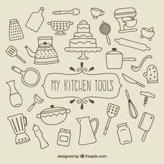 Mes outils de cuisine Vecteur gratuit