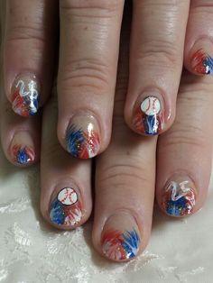 Baseball Nails (inspired by Robin Moses) Baseball Nails, Robin Moses, Nail Stuff, Pedi, Softball, Crying, Polish, Nail Art, Inspired