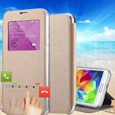 Original Coque For S5 S5Mini Flip PU Leather Case For Samsung Galaxy S5 Mini G800 Slid Answer Window Phone Bag For Galaxy S5 Neo