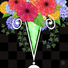 Letter V Art Print featuring the digital art The Letter V For Vase Of Various Flowers by Valerie Drake Lesiak