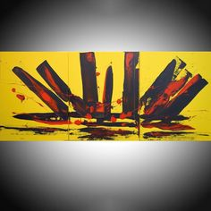 "EXTRA LARGE WALL art triptych 3 panel wall "" Yellow Intuition"" yellow black on canvas original painting abstract artwork 48 x - Painting Media Hand Painting Art, Acrylic Painting Canvas, Abstract Canvas, Painting Abstract, Yellow Wall Art, Yellow Painting, 3 Piece Canvas Art, Canvas Wall Art, Triptych Wall Art"