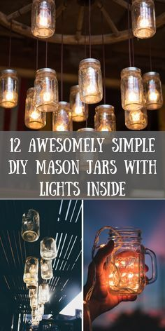 Beautify your home with any one of these clever 12 DIY Mason Jar Lights! || https://withnaturalgusto.com/12-diy-mason-jars-with-lights-inside/ || Mason jar Crafts, Mason jar ideas For gifts, Mason jar ideas For weddings, Mason jar ideas For home, Mason ja