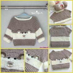 Crochet Baby Bear Sweater - Free Pattern #freepattern #crochet