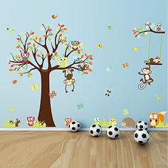 αυτοκόλλητα τοίχου αυτοκόλλητα τοίχου, τα μεγάλα ζώα κουκουβάγιες αυτοκόλλητο δέντρο PVC τοίχο – USD $ 19.99