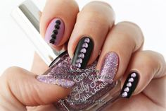 Lilac and Black Heart Nails