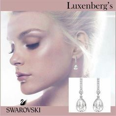 """Swarovski's """"Attention Pierced Earrings"""".  Beautiful brilliance of polished crystal will surly attract much """"Attention"""".  $89  Luxenberg's...We want to be your Jeweler!  www.luxenbergs.com"""