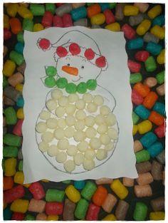 Bonhomme de neige en playmais