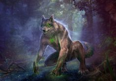 Slavic mythology. Volkolak by Vasylina turn into a wolf of bear werewolf monster creature beast animal