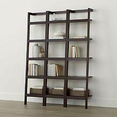 "Sawyer Mocha Leaning 18"" Bookcases Set of Three"