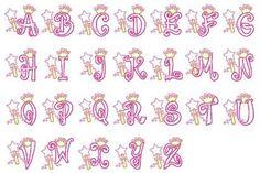 26 princess crown font letters applique machine by FunStitch