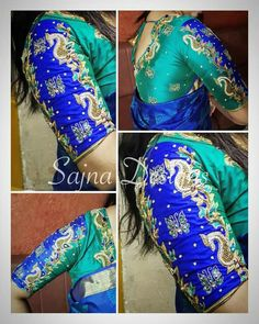 Beautiful contrast designer blue blouse with elegant hand embroidery butterfly design thread work. Wedding Saree Blouse Designs, Pattu Saree Blouse Designs, Blouse Neck Designs, Sleeve Designs, Maggam Work Designs, Stylish Blouse Design, Blouse Models, Fancy, Hand Embroidery