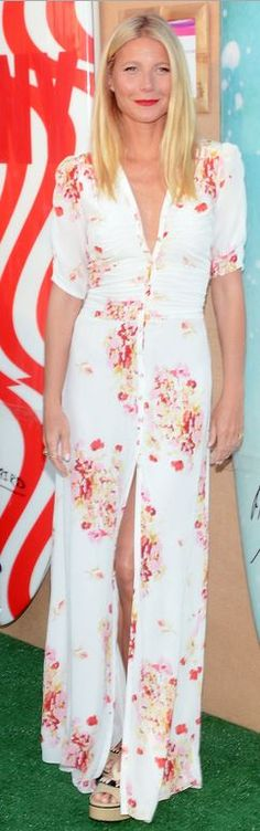 Who made Gwyneth Paltrow's wedge sandals and floral white maxi dress?