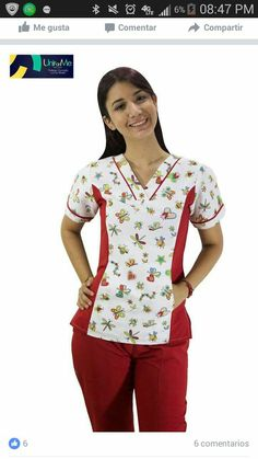 Emprendimiento 😁 Cute Nursing Scrubs, Cute Scrubs, Nursing Clothes, Scrubs Outfit, Scrubs Uniform, White Jumpsuit Formal, Womens Scrubs, Uniform Design, Medical Scrubs