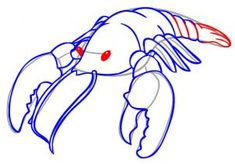 how to draw a cartoon lobster