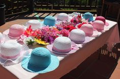 Ready to decorate fancy girl tea party hats. Such a cute idea for a little girls' tea party! Toddler Tea Party, Girls Tea Party, Princess Tea Party, Tea Party Theme, Tea Party Birthday, 6th Birthday Parties, Birthday Ideas, Tea Party Games, Tea Party For Kids