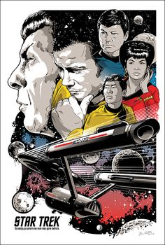 Buy Star Trek Maxi Poster - To Boldly Go online and save! Star Trek Maxi Poster – To Boldly Go This poster delivers a sharp, clean image and vibrant colours. This poster is printed on high quality pape. Science Fiction, Pulp Fiction, Leonard Nimoy, Mia Wallace, Spock, Affiche Star Trek, Star Trek Tos, Star Wars, Pop Art Posters