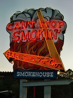 Can't Stop Smokin' - cafe neon sign in Ruidoso, New Mexico. Photography by David E. Old Neon Signs, Vintage Neon Signs, Neon Light Signs, Bbq Signs, Retro Signage, Neon Nights, Neon Glow, Googie, Advertising Signs