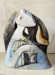 """Buy Decorative composition """"Spring Song"""" in the online store at the Fair of Masters - Pink Unicorn Sculptures Céramiques, Art Sculpture, Pottery Sculpture, Abstract Sculpture, Ceramic Sculptures, Ceramic Wall Art, Ceramic Clay, Ceramic Pottery, Slab Pottery"""