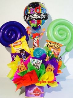 Diy Birthday, Birthday Gifts, Candy Flowers, Balloon Gift, Graduation Day, Candy Bouquet, Ideas Para Fiestas, Candy Party, Creative Crafts