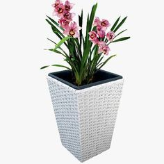 Hand-woven plastic rattan over metal frame and includes plastic liner with removable drain plug for indoor or outdoor use. Available in three sizes and four colors (white shown here). Rattan Planters, Planter Pots, Drain Plugs, Hand Weaving, Indoor, Plastic, Metal, Colors, Frame