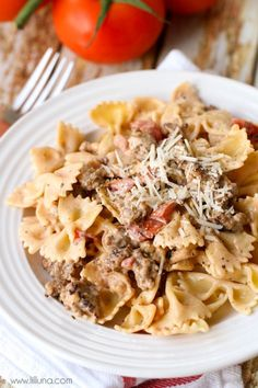 Italian Sausage with Bowtie Pasta - easy and delicious! { lilluna.com }