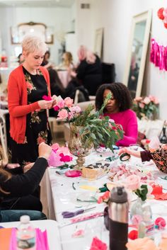Paper Flower Workshop with Dear Paperie. GALENTINE'S DAY WORKSHOP. Paper flower crowns. The Party Concierge in Philadelphia. Event Planning, Party Coordination, Graduation Party, Wedding, Bridal Shower, Baby Shower, Birthday Party, Anniversary, Date Night, Dinner Party
