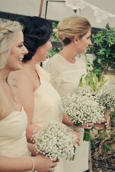 baby's breath bouquets for the bridesmaids