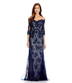 VM by Mori Lee Beaded Applique Chantilly Lace Gown #Dillards