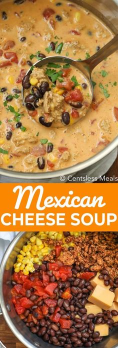 This Mexican Cheese Soup is so hearty and filling that it truly is a meal in itself, and is perfect for a weeknight dinner or lunch. Chicken, corn beans and tomatoes, all smothered in a cheesy and spicy beef broth makes this soup so satisfying. Roast Beef Sandwich, Sandwich Bar, Soup And Sandwich, Sandwiches, Crockpot Recipes, Cooking Recipes, Healthy Recipes, Recipes Using Beef Broth, Soup With Beef Broth