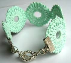 Crochet jewelry making is a great art that requires lot of time and patience to achieve the perfect result. I thought of making a crochet bracelet Crochet Crafts, Yarn Crafts, Crochet Projects, Bracelet Crochet, Crochet Earrings, Crochet Jewellery, Lace Bracelet, Love Crochet, Knit Crochet