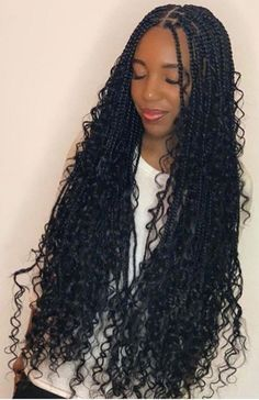 Box Braids Gone are the days when everyone's braids looks the same. Nowadays, there are so many varieties of box braids popping up all over the place, it's almost hard to keep up. You might have heard about bohemian box braids and are Braided Hairstyles For Black Women, African Braids Hairstyles, Braids For Black Hair, Protective Hairstyles, Braids For Black Women, Braids With Curls Hairstyles, Braids And Curls, Individual Braids Hairstyles, Flat Twist Hairstyles