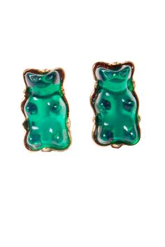 Green Gummy Bear Studs Earrings http://shop.nylon.com/collections/whats-new/products/green-gummy-bear-studs-earrings #NYLONshop