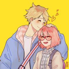 Kyoukai No kanata Cute Couple Drawings, Cute Couple Art, Anime Couples Drawings, Cute Drawings, Manga Couple, Anime Love Couple, Cute Anime Couples, Anime Couples Hugging, Fanarts Anime