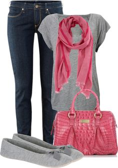 """Gray and Pink"" by maizie2020 ❤ liked on Polyvore"