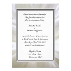 Religions wedding, pure white daisy flower custom announcements