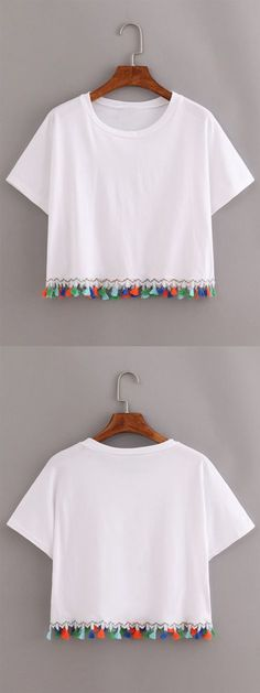 White Contrast Fringe T-Shirt More