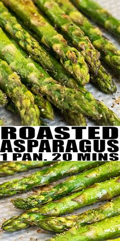 OVEN ROASTED ASPARAGUS RECIPE- Quick, easy, made in one pan (sheet pan) in only 20 minutes. It's packed with lemon and garlic flavors and makes a simple side dish. From OnePotRecipes.com #asparagus #garlic #sheetpan #onepan #onepot #vegetarian #dinner #dinnerrecipes #sides #sidedish #parmesan #quickandeasy #lemon #onepotrecipes Oven Baked Asparagus, How To Cook Asparagus, Easy Asparagus Recipes, Roasting Asparagus In Oven, Oven Roasted Veggies, Roasted Asparagus Parmesan, Best Asparagus Recipe, Roast Asparagus, Esparagus Recipes