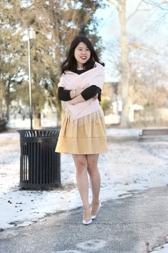 personal style, gold skirt, black sweater, silver heels, burberry scarf, pearl necklace, DIY, winter fashion, work wear,