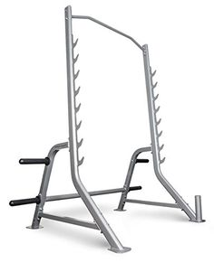 "BodyCraft Half Cage Squat Rack for Functional & Cross Training. Olympic Bar and Plates NOT Included. Rugged 12 gauge, 3.25"" x 1.25"" Oval Steel Tubing. 1/4"" Thick Laser Cut Bar Hooks. Multi-Grip Chin Bar. Vertical Olympic Bar Storage. Four Olympic Weight Plate Holders with (4) Olympic Spring Collars included. Rated for Use up to 800 Pounds."