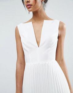 ASOS Deep V Pleated Midi Dress