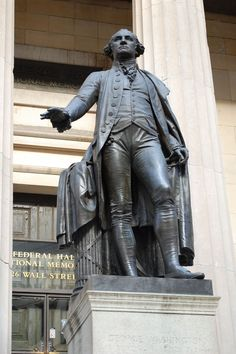 This is the statue of George Washington at Federal Hall across from the Wall Street Stock Exchange. Washington was inaugurated here in Street Stock, American Spirit, City That Never Sleeps, Dream City, Wall Street, New York City, Statue, George Washington, Federal